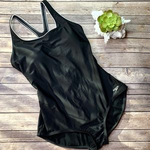 Speedo Midnight Black One Piece Swim Suit Size XL